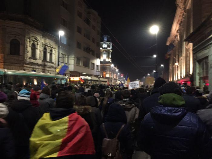 Protest Cluj ianuarie 2017 steag mare galeria U